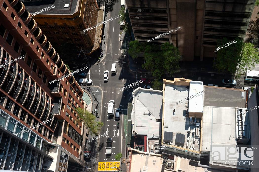 Stock Photo: Sydney, New South Wales, Australia - View from above of a road junction with street traffic in the city centre.