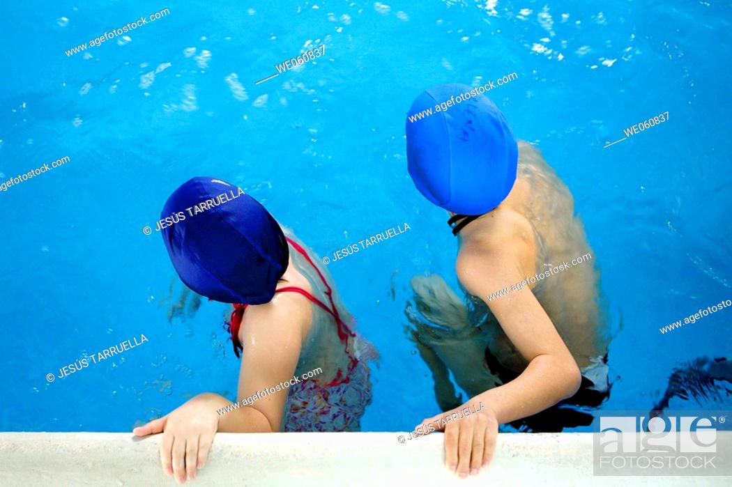 Stock Photo: Children in a swimming pool.