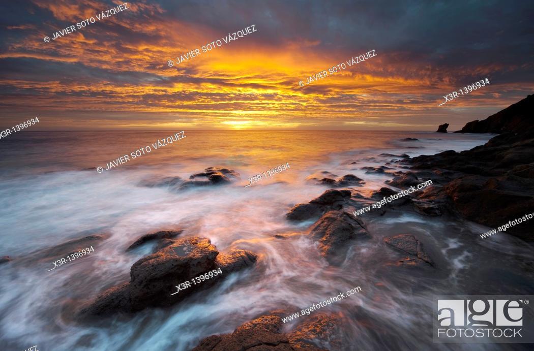 Stock Photo: Sunset on the coast of the natural park of Cabo de Gata, Almeria.