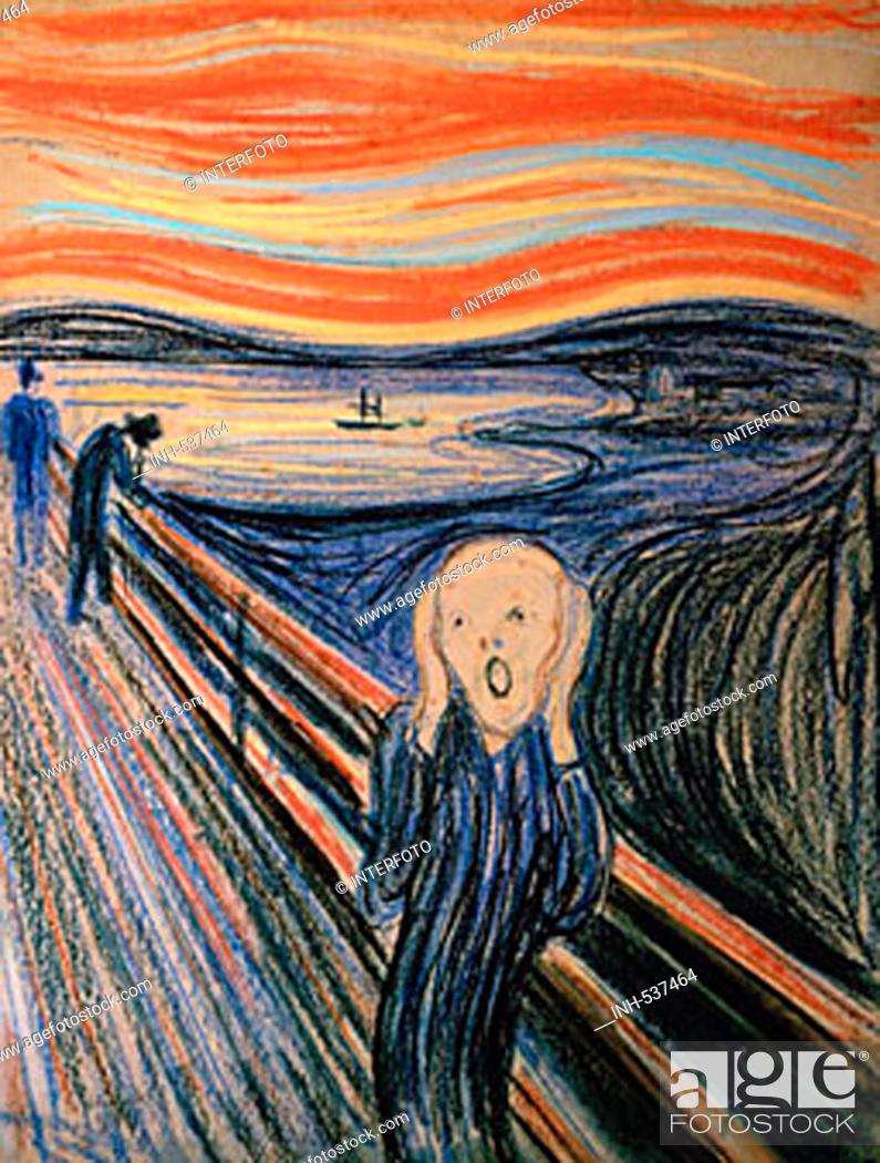 Stock Photo: fine arts, Munch, Edvard, (1863 - 1944), painting, 'the scream', 1895, pastel on cardboard, 59 cm x 79 cm, private collection, Oslo, historic, historical.