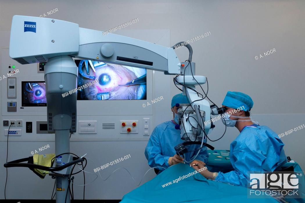 Stock Photo: Reportage in the ophthalmology service in Pasteur 2 Hospital, Nice, France. In the operating theatre, treatment of a retinal detachment through vitrectomy.