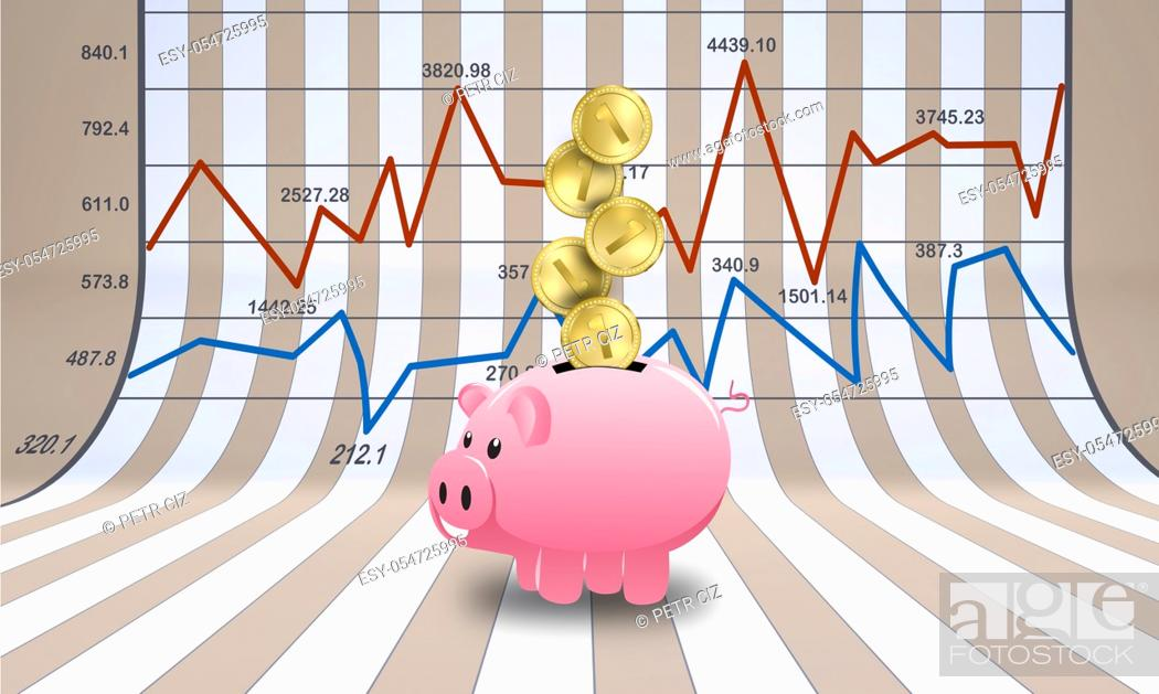 Stock Photo: Stock financial chart with savings pig and coins.