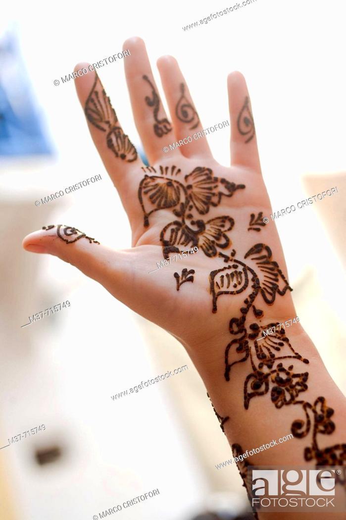 Stock Photo: Henna on feminine hand, Essaouira, Morocco.