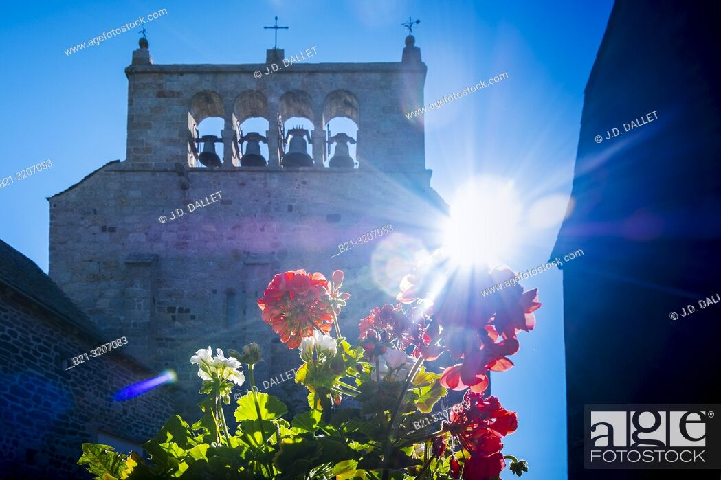 Stock Photo: France, Auvergne, Cantal, 12th Century church at Sainte Urcize. Pilgrimage way to Santiago de Compostela.