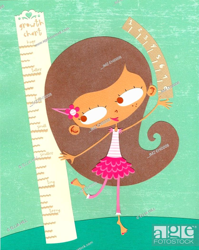 Stock Photo: A paper cut illustration of a girl measuring her height.