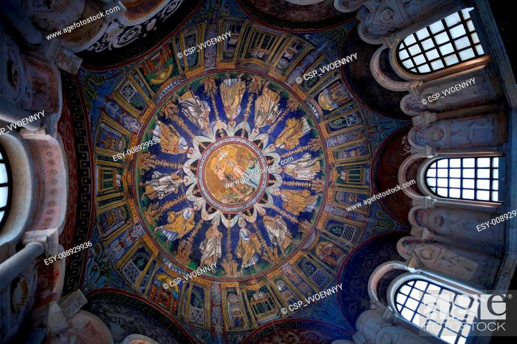 Photo de stock: dark blue ceiling Mosaic of the neoniano Baptistery in Ravenna.