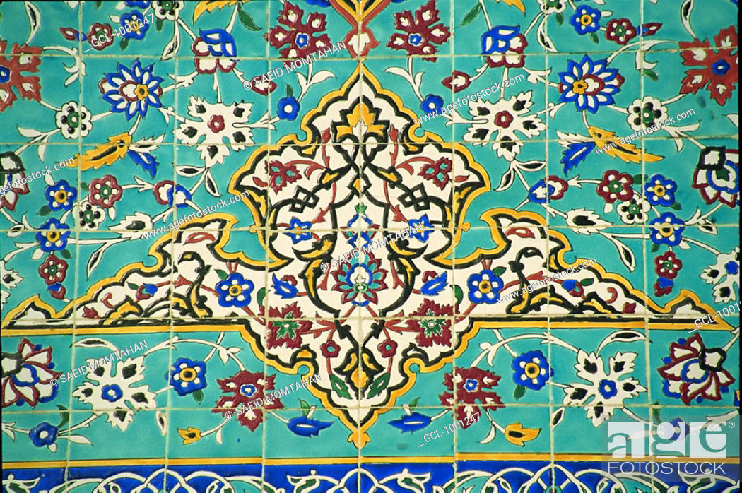 Stock Photo: Colorful Iranian tile design.