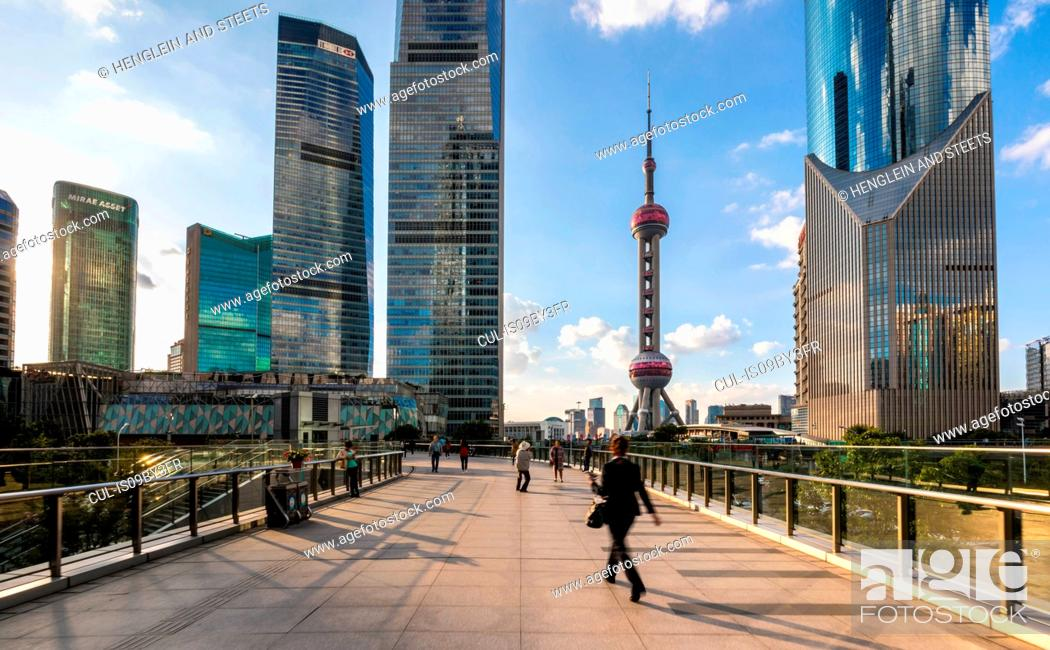 Stock Photo: Pudong skyline with Oriental Pearl Tower from elevated walkway, Shanghai, China.
