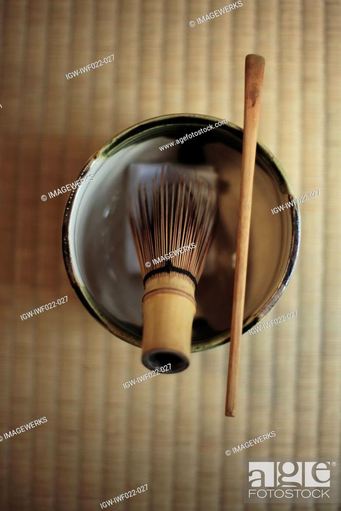 Stock Photo: View of mortar with stick and pestle.