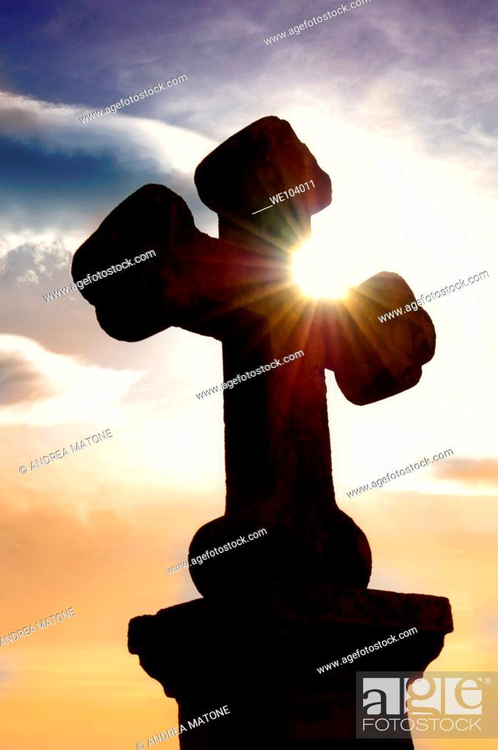 Stock Photo: A stone cross in church Santa Maria dei Bagni Pesche Molise Italy.