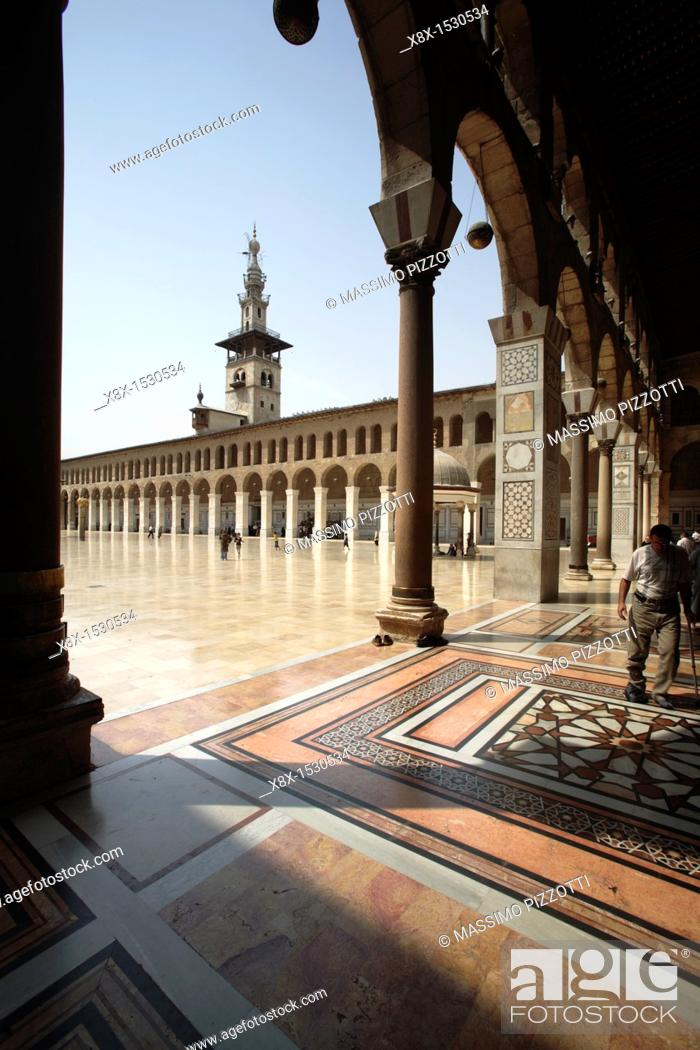 Stock Photo: Portico of the Umayyad Mosque, Damascus, Syria.
