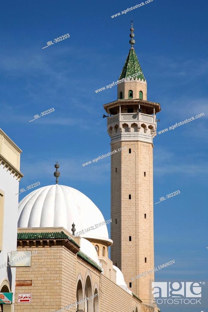 Stock Photo: A mosque and minaret in Monastir. Tunisia.