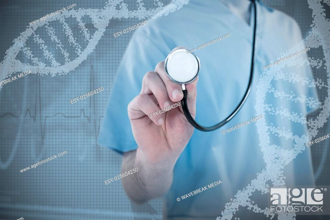 Stock Photo: Composite image of midsection of surgeon holding stethoscope.