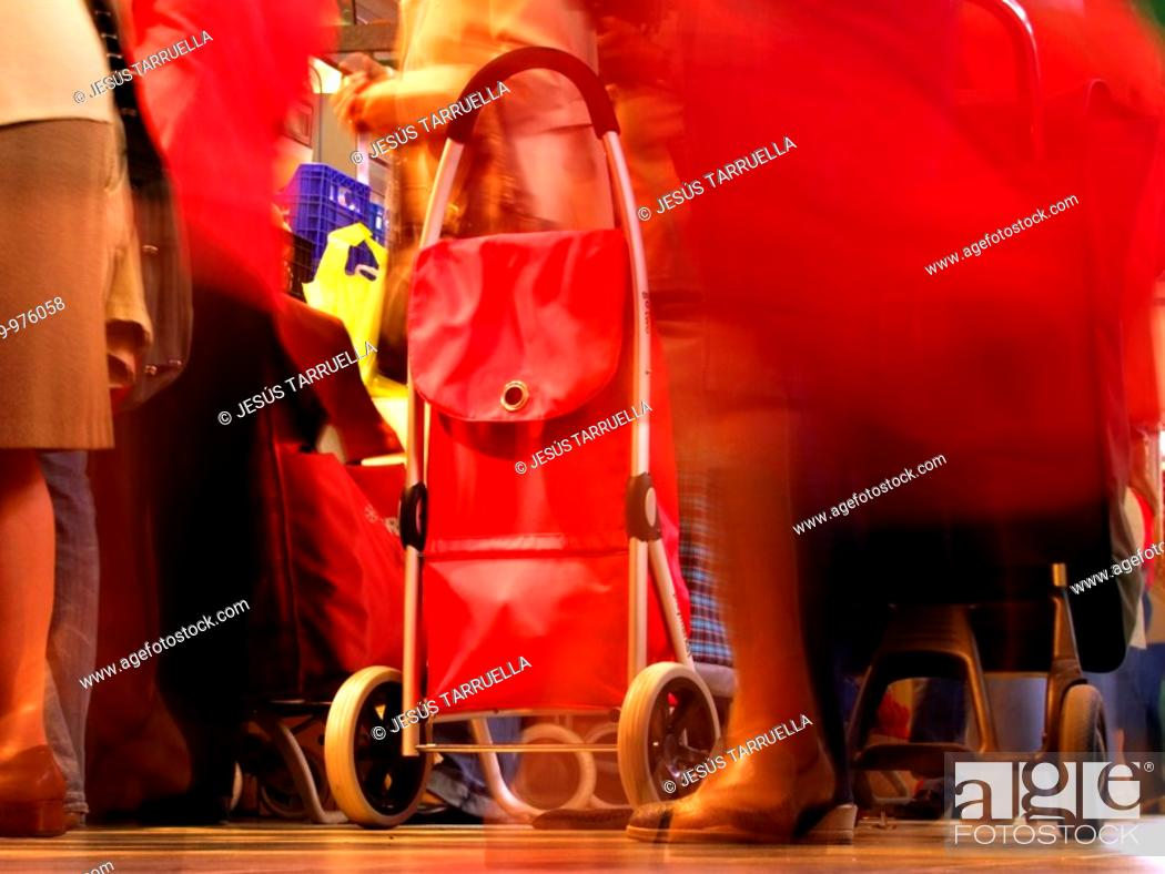 Stock Photo: Transito de clientes en el Mercado de San Roque  Alcoy  Alicante  Europa  España, Comunidad Valenciana.