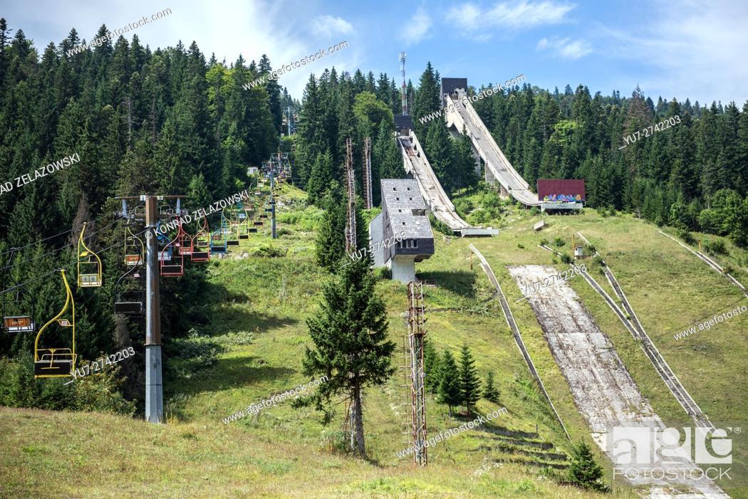 Stock Photo: Igman Olympic Jumps also called Malo Polje in Ilidza, Sarajevo, Bosnia and Herzegovina built for 1984 Winter Olympics.