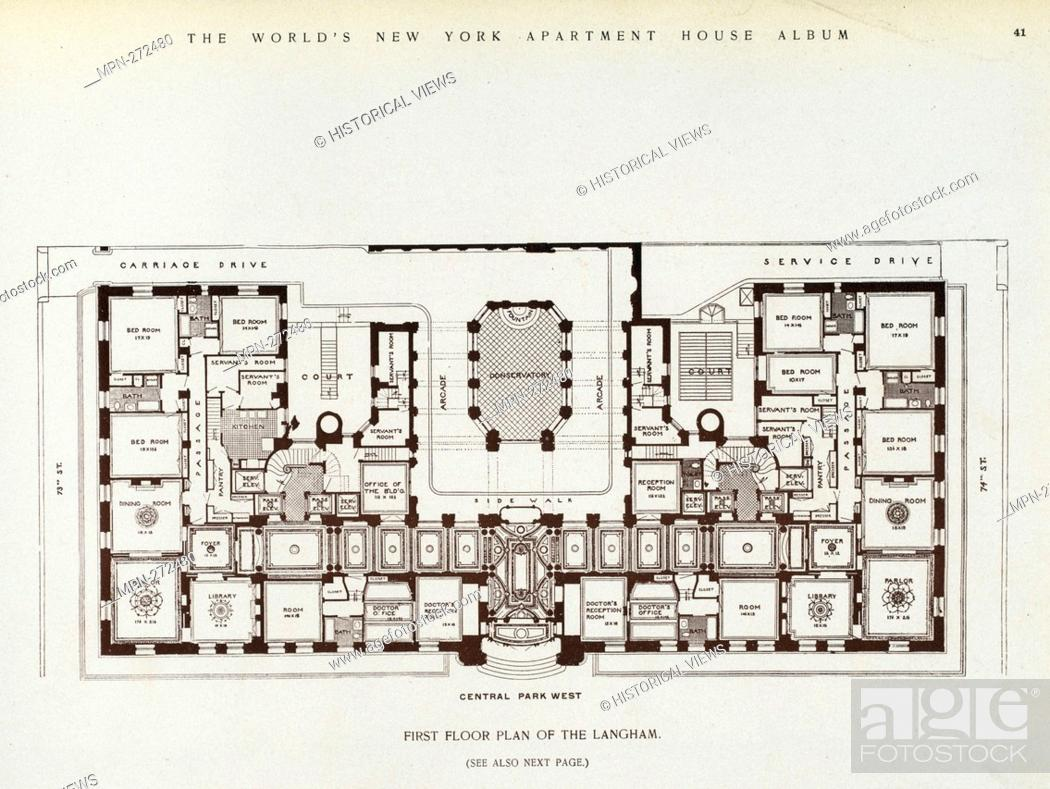 First Floor Plan Of The Langham The World S Loose Leaf Album Of Apartment Houses Containing Views Stock Photo Picture And Rights Managed Image Pic Mpn 272480 Agefotostock