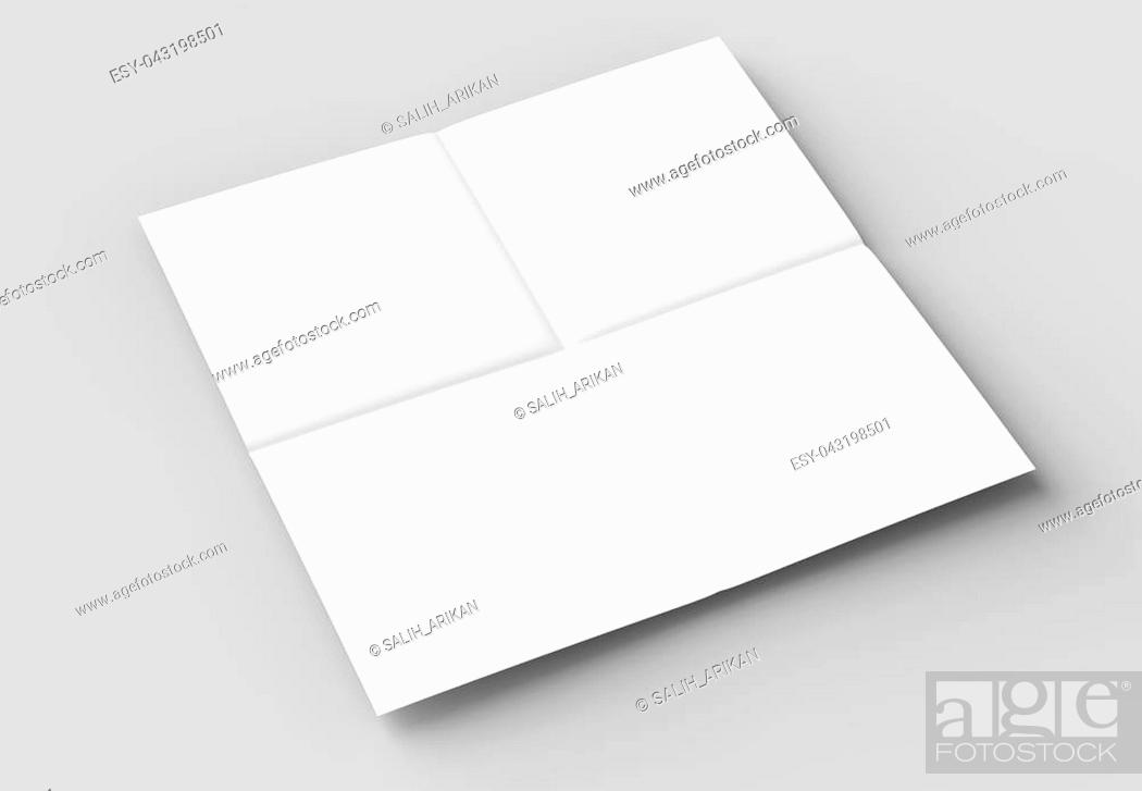 Stock Photo: 8 page leaflet - French fold right angle square brochure mock up isolated on soft gray background. 3D illustrating.