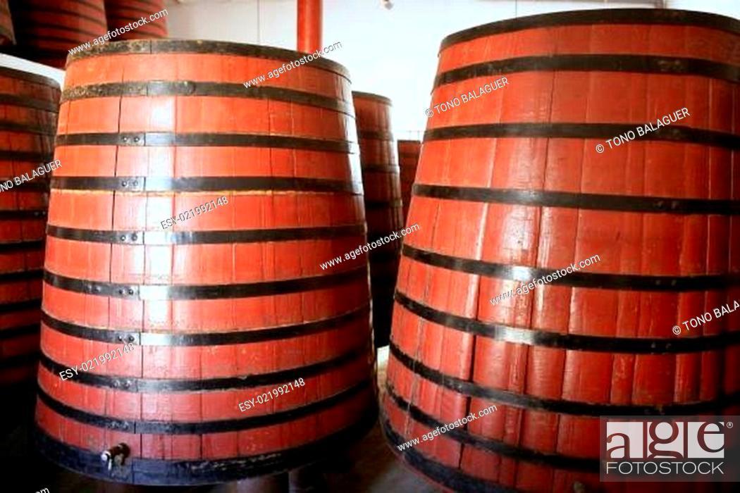 Stock Photo: natural wood wine golden barrel cellar.