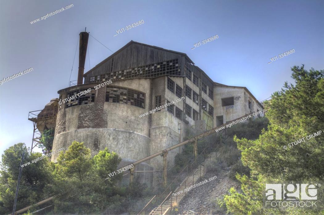 Stock Photo: HDR image of a Disused mine in the town of Portman in Murcia, Spain.