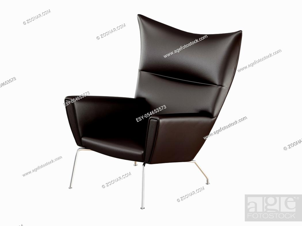 Stock Photo: Black leather armchair on a white background 3d rendering.
