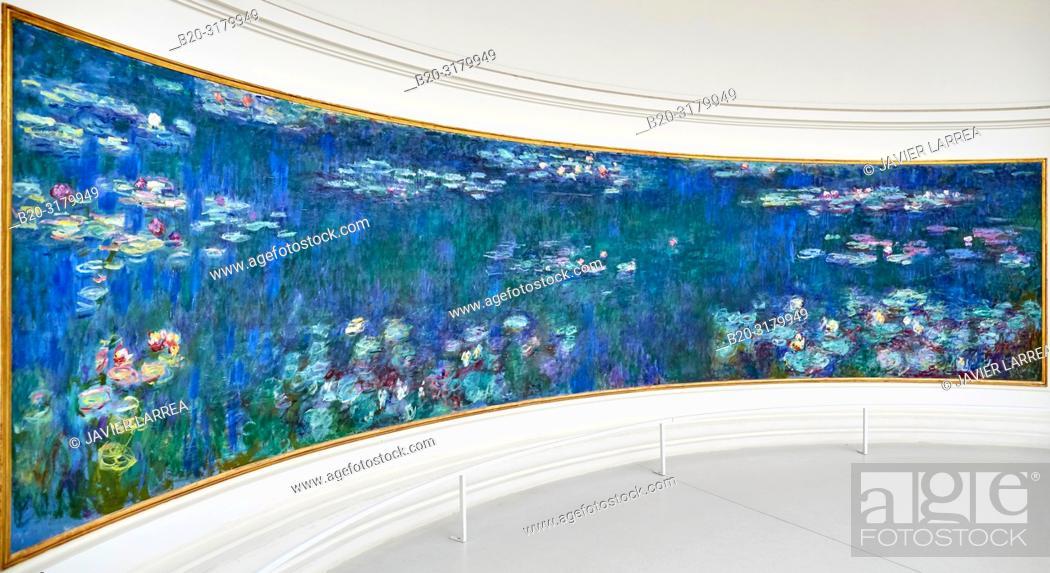Stock Photo: Water-lilies Nympheas series painted by Claude Monet, Musee de L'Orangerie Museum, Tuileries, Paris, France.