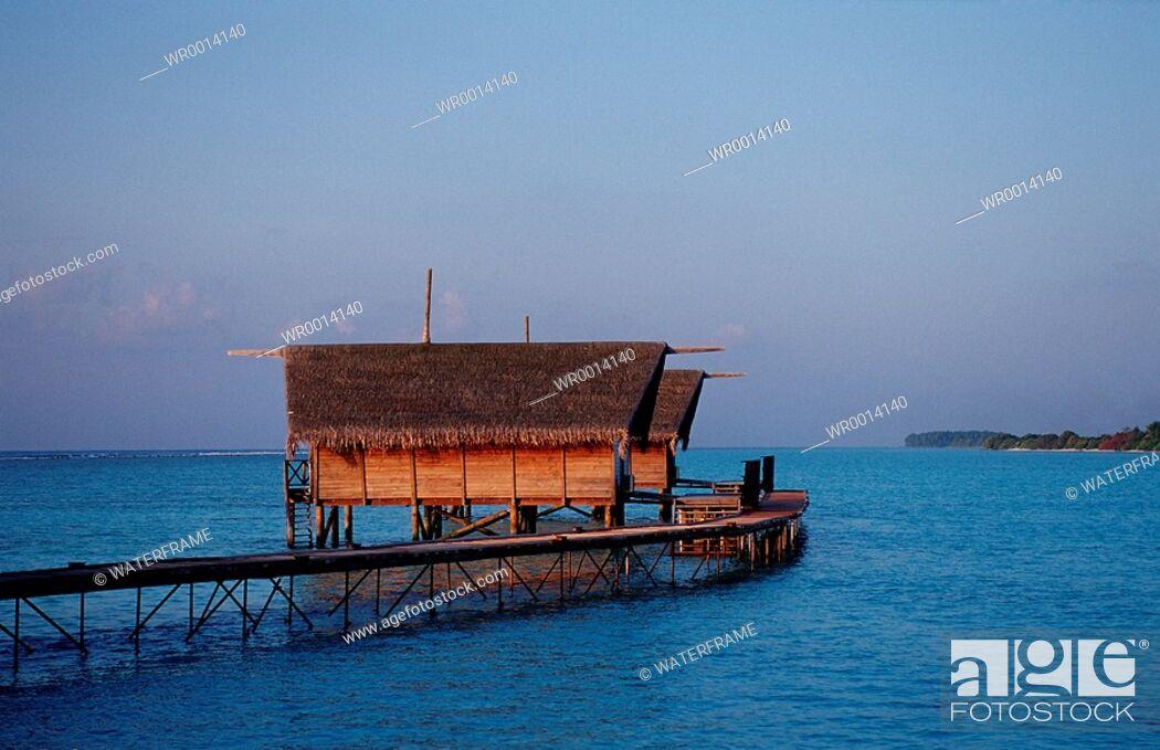 Stock Photo: Waterbunglows, Indian Ocean, Maldives Island.