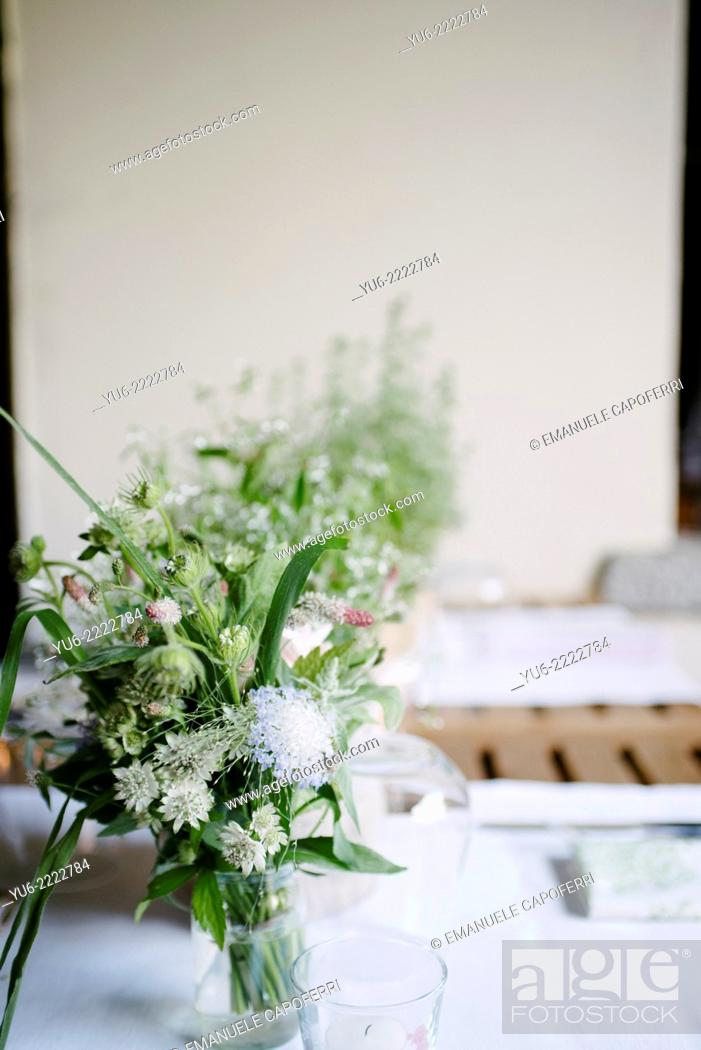 Stock Photo: Vase with wildflowers.