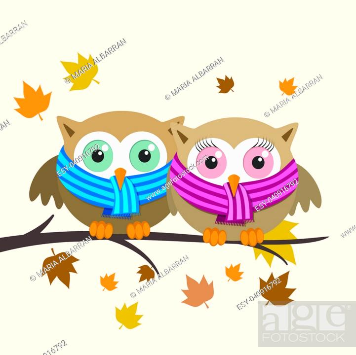 Stock Vector: Couple of owls with scarf on a fall day. Vector illustration.