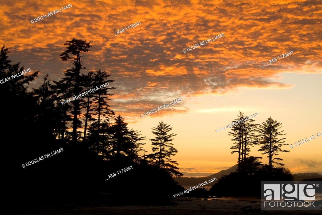 Stock Photo: sunset, Canadian West Coast, Flores Island, British Columbia, Canada.