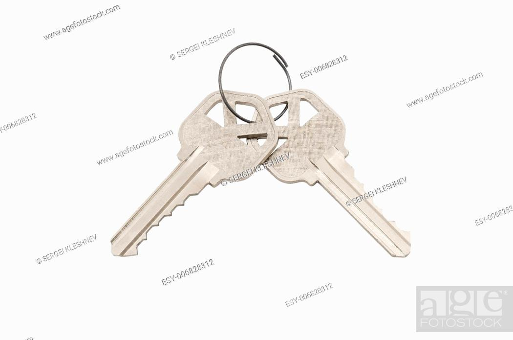 Photo de stock: Two keys. Isolated on white.