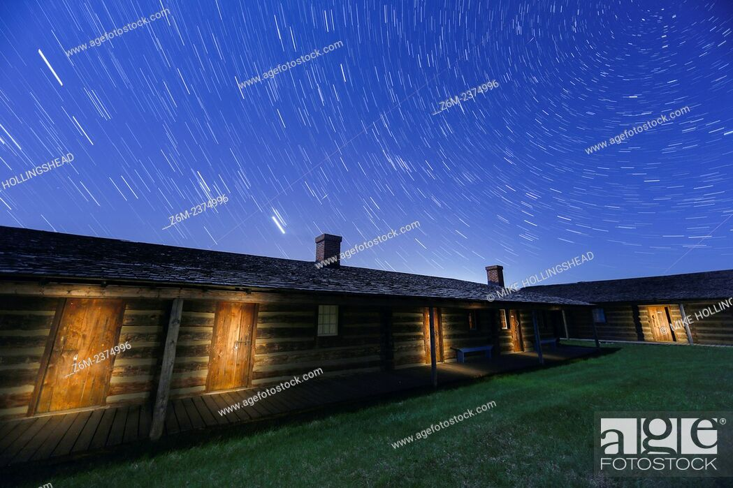 Stock Photo: Light painting at Ft. Atkinson at Ft. Calhoun Nebraska.