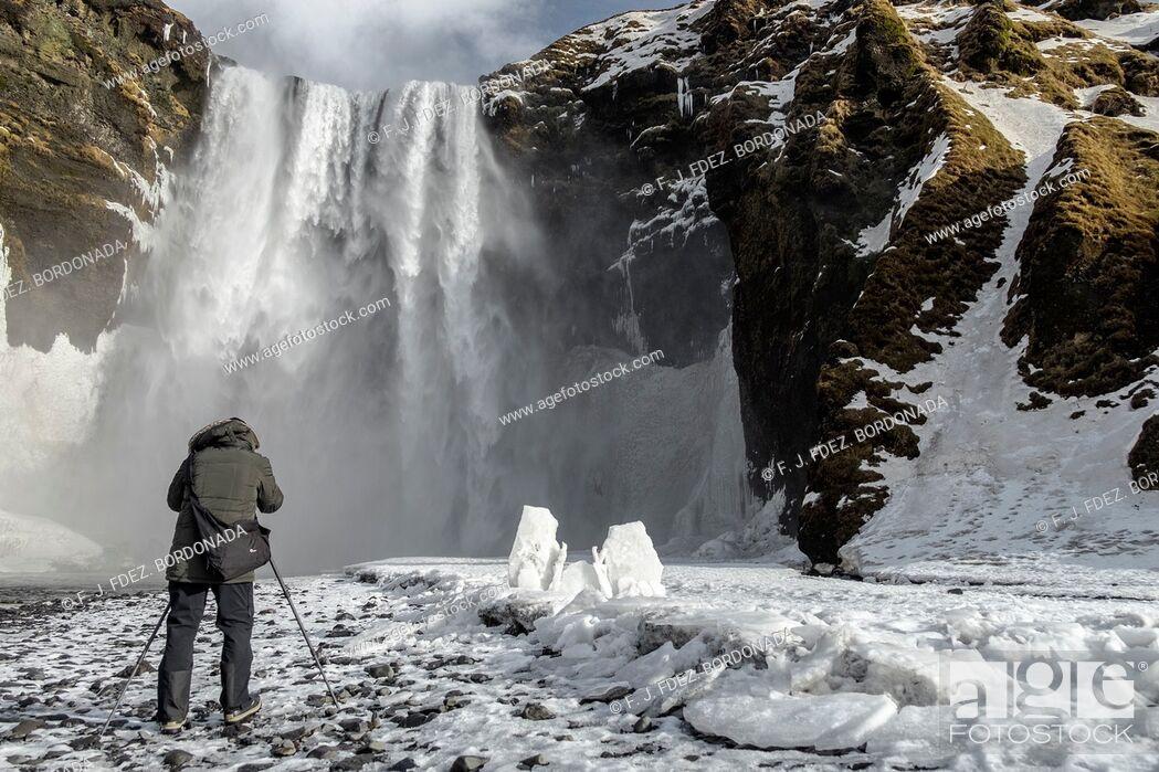 Stock Photo: Skogafoss waterfall in winter, Iceland.