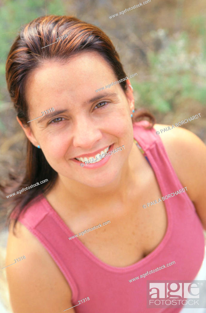 Stock Photo: Portrait of woman in tank top.