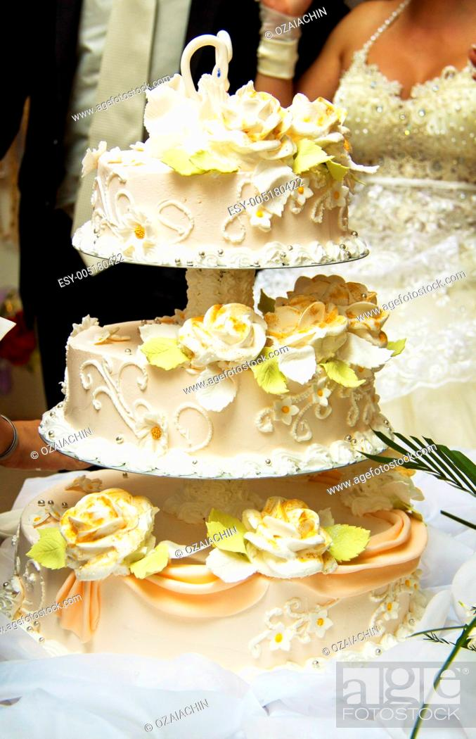 Stock Photo: Beautiful wedding cake at a wedding reception.