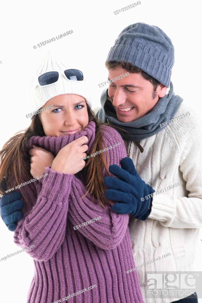 Stock Photo: Young couple in winter clothes.