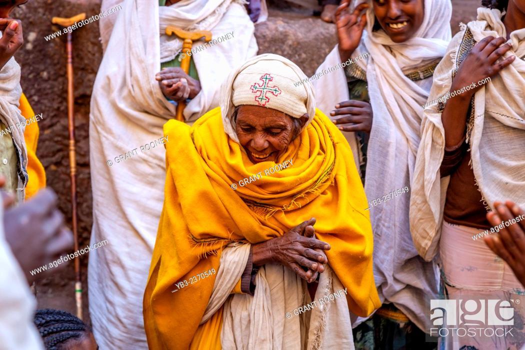 Stock Photo: Ethiopian Christians Celebrating Christmas, Biete Giyorgis (Church of Saint George), Lalibela, Ethiopia.