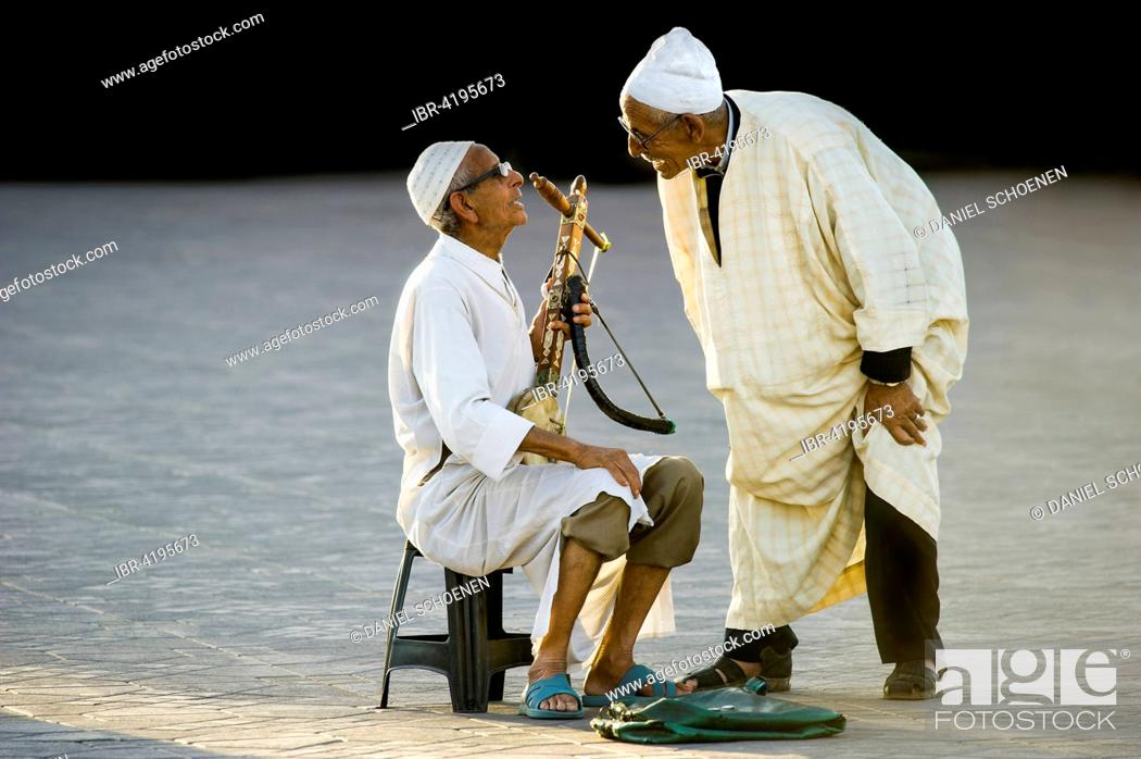 Stock Photo: Musicians, Djemaa el Fna square, UNESCO World Heritage Site, Marrakech, Morocco.