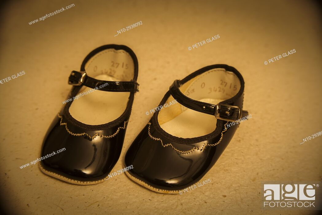 Stock Photo: Pair of patent leather doll's shoes.