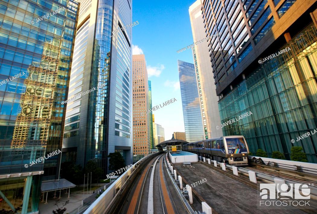 Stock Photo: Shiodome, Yurikamome line, Monorail train, Tokyo, Japan.