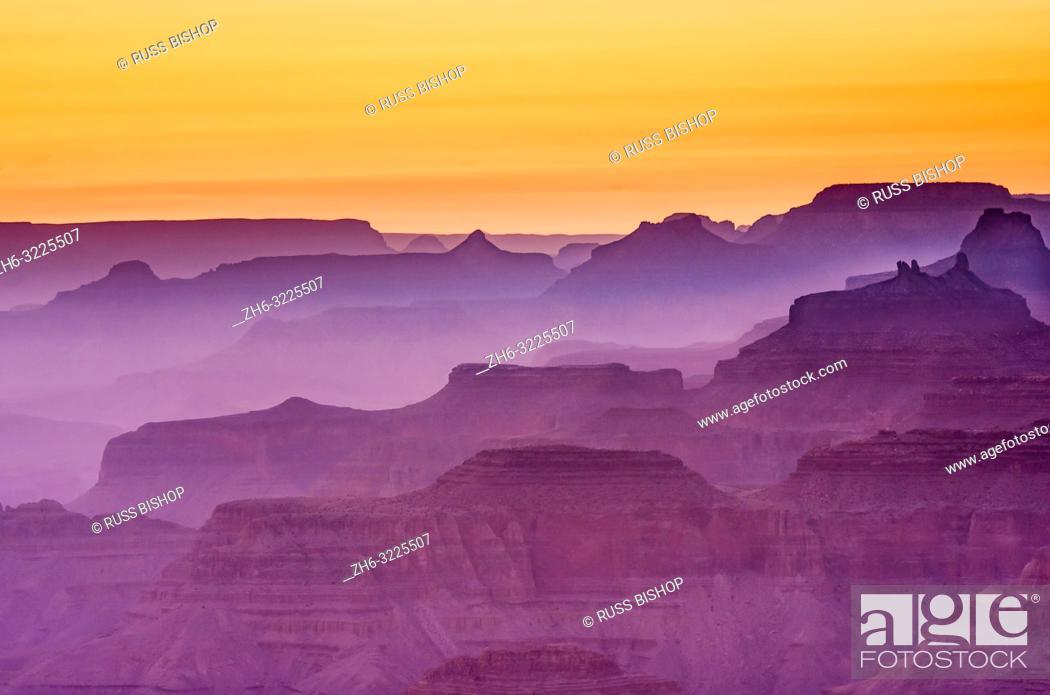 Stock Photo: Evening light over the Grand Canyon, Grand Canyon National Park, Arizona USA.