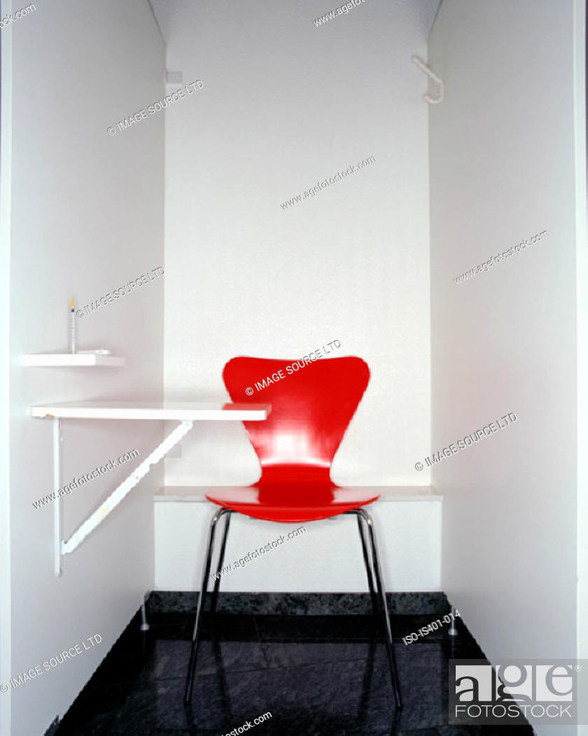 Stock Photo: Red chair in hospital.