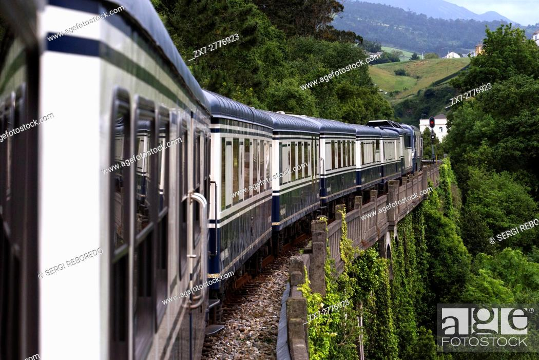 Stock Photo: Outside of Transcantabrico Gran Lujo luxury train travellong across northern Spain, Europe. Journey between Candás and Luarca, Asturias, Spain.