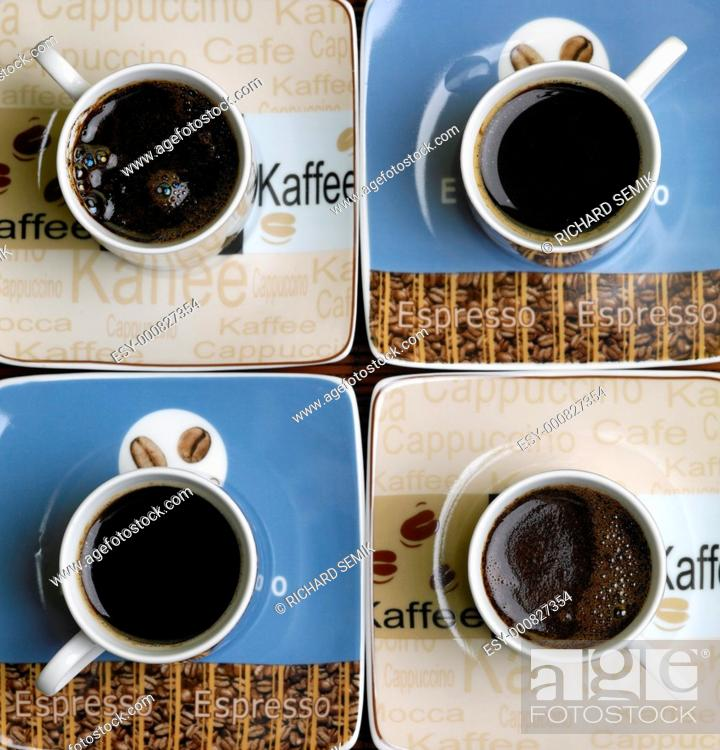 Stock Photo: cups of coffee.