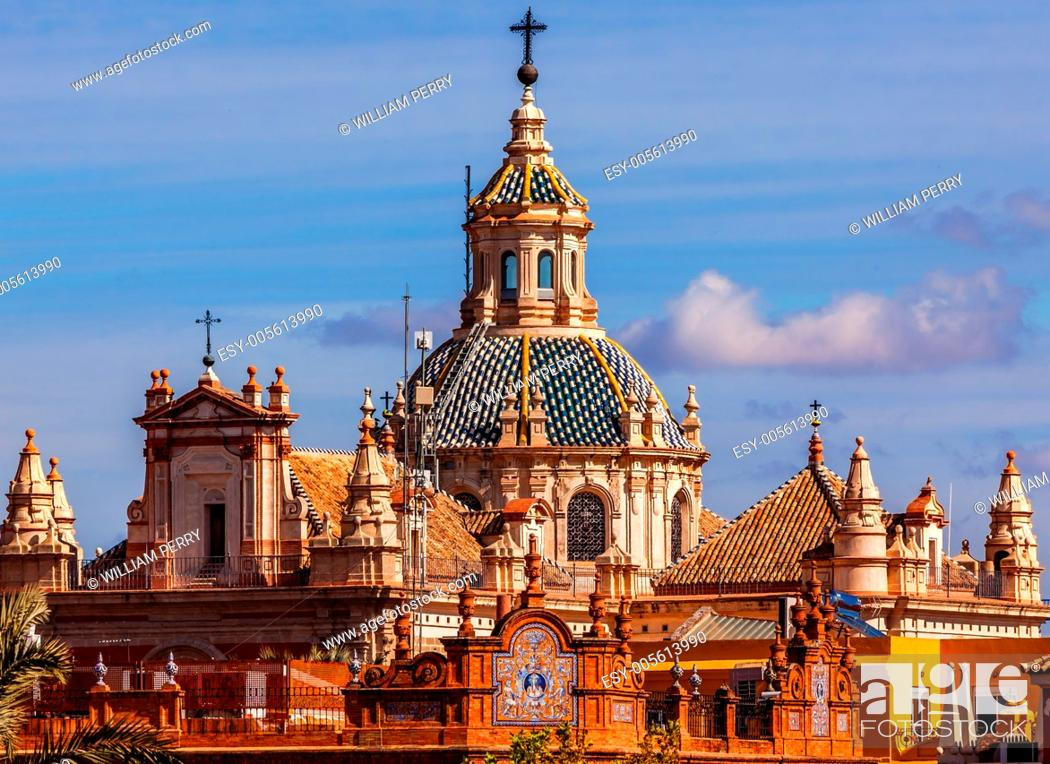 Stock Photo: Church of El Salvador, Iglesia de El Salvador, Dome with Cross, Seville Andalusia Spain. Built in the 1700s. Second largest church in Seville.