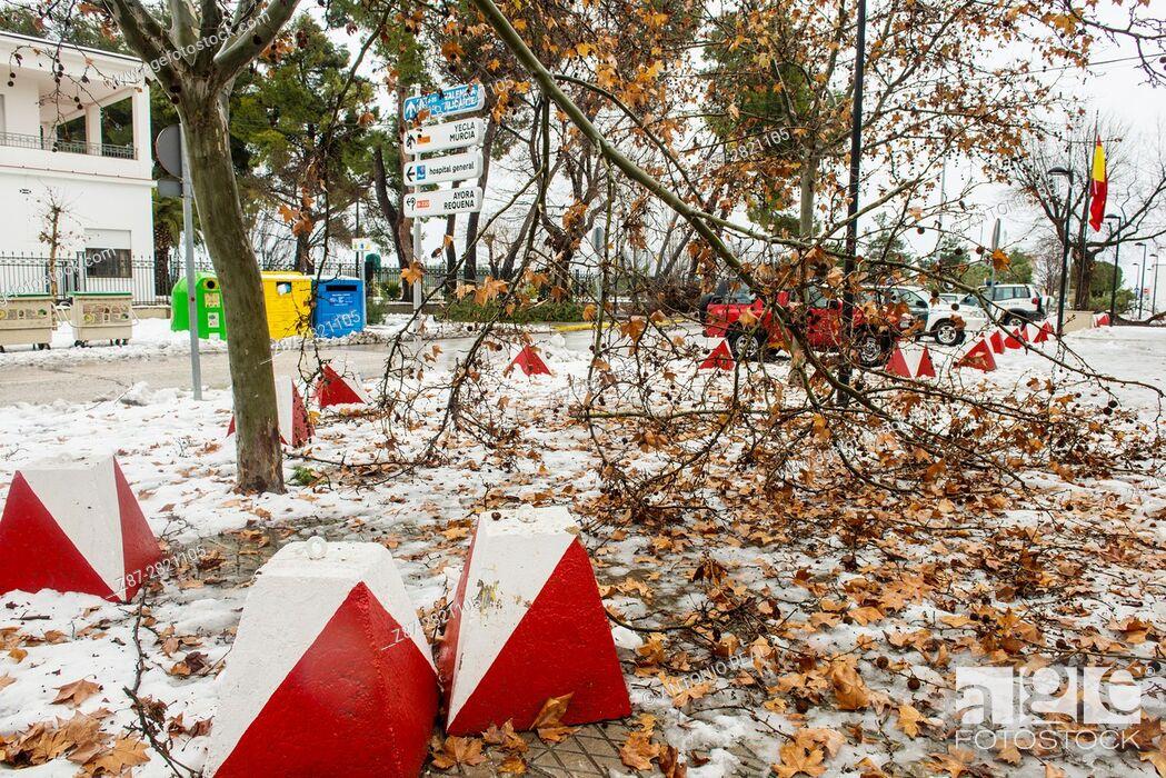 Stock Photo: Winter scene. Almansa. Albacete province. Spain.