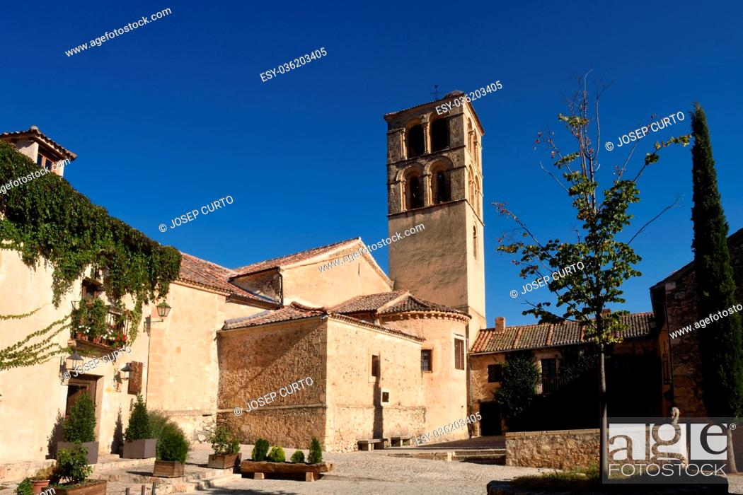 Stock Photo: Church of San Juan Bautista in Pedraza, walled medieval village declarated Historical-Artistic Site Segovia province Castilla y  Leon Spain.