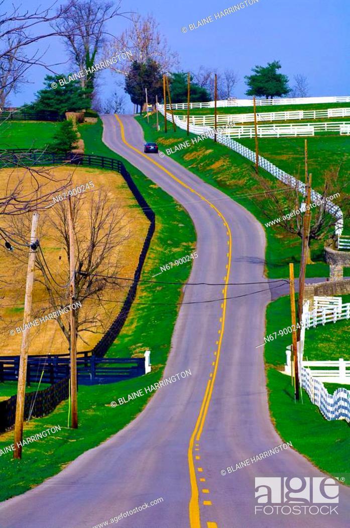 Stock Photo: Old Frankfort Pike , Lexington, Kentucky, USA.