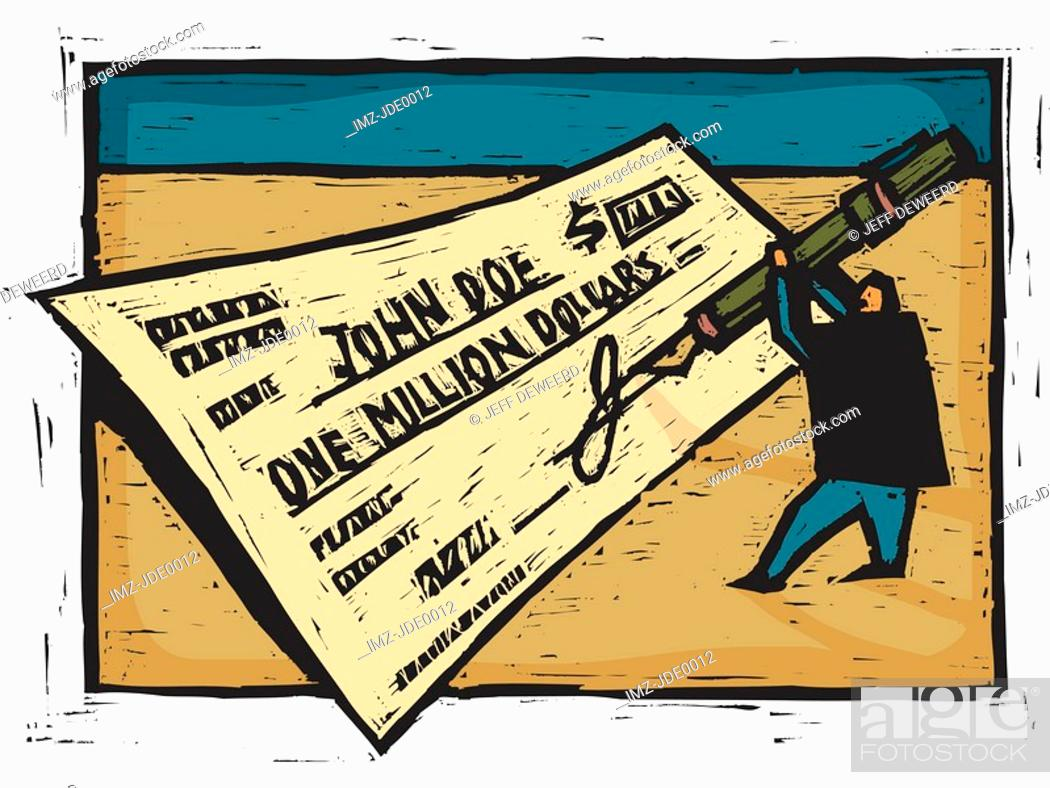 Stock Photo: A man signing a giant check on the indicated space.