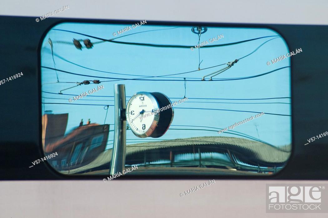 Stock Photo: Reflections on the window of a train. Campo Grande Railway Station, Valladolid, Castilla León, Spain.