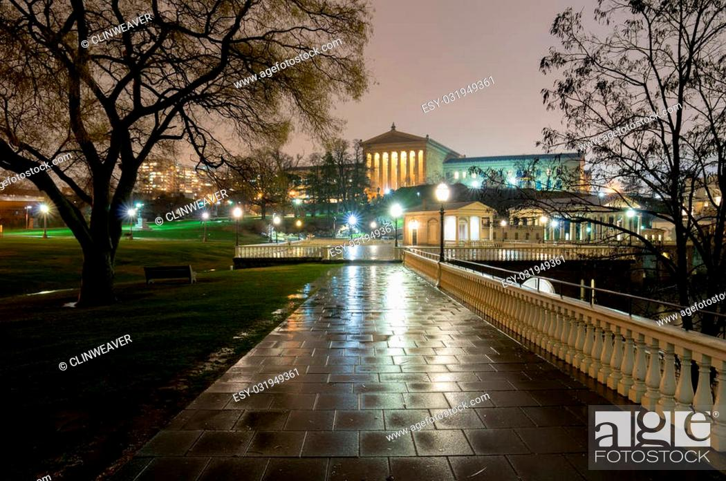 Stock Photo: A park in downtown Philadelphia in the evening rain.